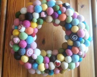 Felt Wreath Wreath of Felt Balls Colourful Deco