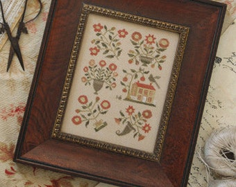 Primitive Cross Stitch - Spring in Baltimore - Choose Pattern Only or Pattern w/Floss Kit