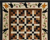 Wool Applique and Pieced Runner - Crows and Berries Quilted Runner - Choose Pattern Only or Pattern with Wool Kit