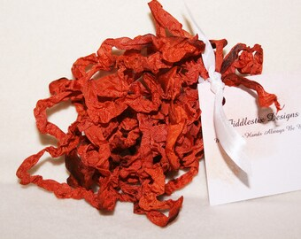 Hand-dyed Crinkled Ribbon - Color Fall Leaves of Rust - 5 yards