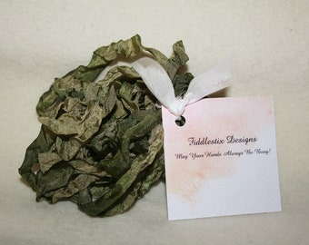 Hand-dyed Crinkled Ribbon - Color Olive Green - 5 yards