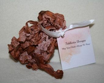 Hand-dyed Crinkled Ribbon - Color Vintage Bear Brown - 5 yards