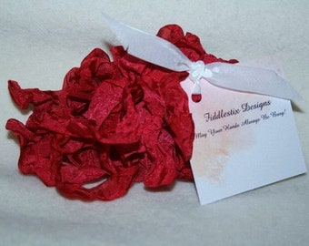 Hand-dyed Crinkled Ribbon - Color Red Red Rose - 5 yards