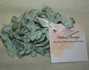 Hand-dyed Crinkled Ribbon - Color Sage Green - 5 yards