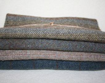 Fat Eighth Bundle - 100% Wool Fabric -  Total of 1/2 yard Wool - 4 different colors/textures
