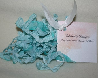 Hand-dyed Crinkled Ribbon - Color Medium Island Water Blue - 5 yards