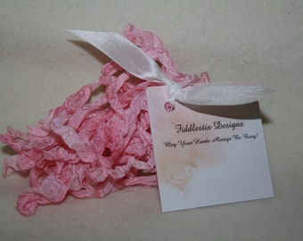 Hand-dyed Crinkled Ribbon - Color Barely Pink - 5 yards
