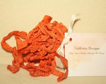 Hand-dyed Crinkled Ribbon - Color Happy Jack Orange - 5 yards