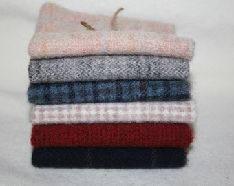 """Six Pack of 8"""" x 8"""" Squares of 100% Wool Fabric"""