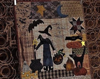 PDF Downloadable Primitive Quilt Wall Hanging Witchy Hollow by Marian Edwards