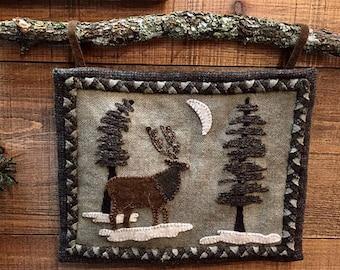 Wool Applique Pattern - Woodland Elk Wall Hanging Pattern - Choose Pattern Only or Pattern with Wool Kit