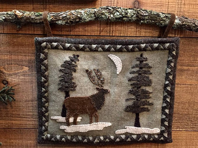 Wool applique pattern woodland elk wall hanging pattern etsy