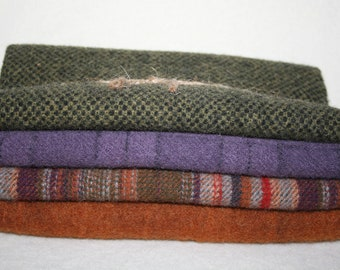 Fat Eighth Bundle - 100% Wool Fabric -  Total of 1/2 yard of Wool - 4 different coordinating colors/textures
