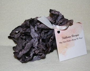 Hand-dyed Crinkled Ribbon - Color Charcoal Gray-Black - 5 yards
