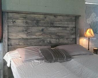 Weathered Gray Rustic Wood Headboard Edward Full And Footboard