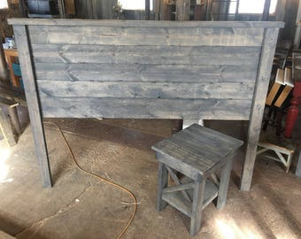 Weathered Gray Rustic Wood Headboard Edward Queen With 1 Matching End Table