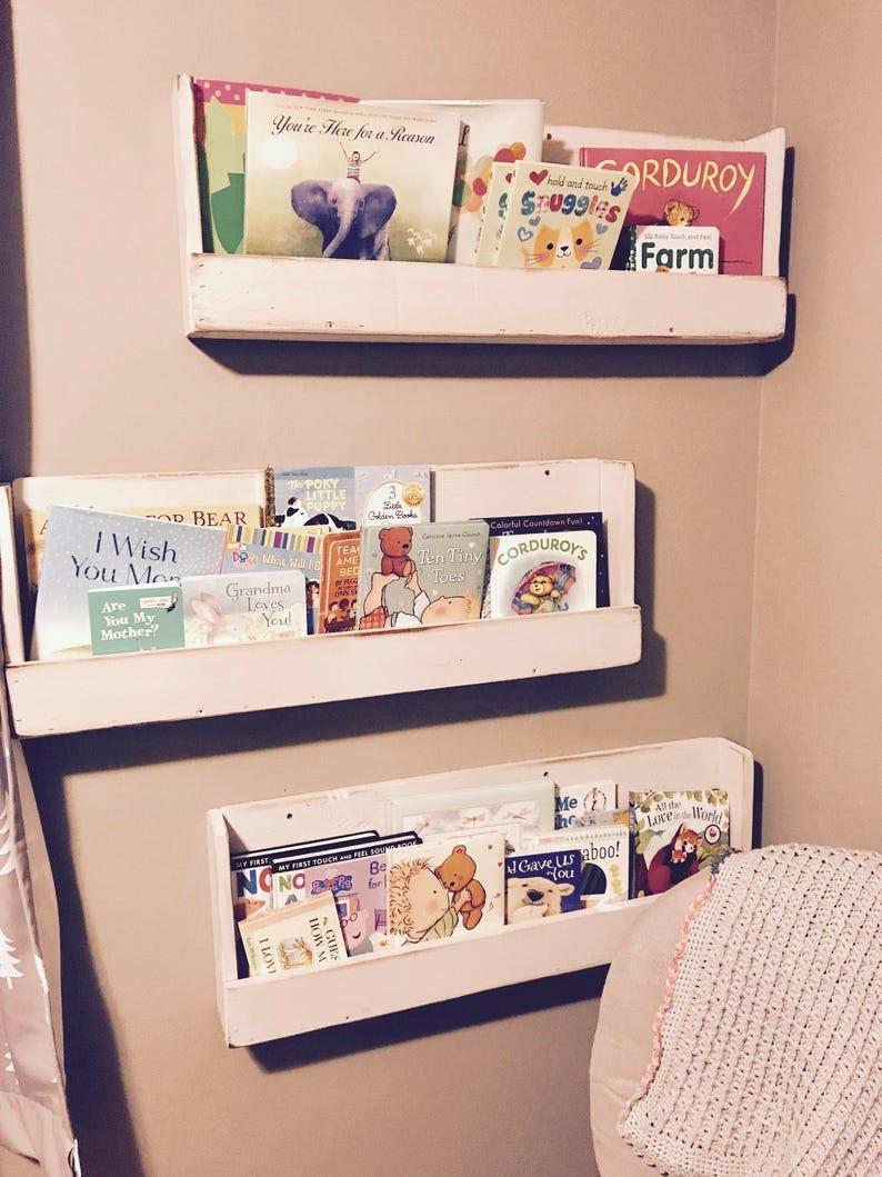 Childrens Book Shelf Nursey Book Shelf Baby Room Shelving For Walls White Wall Book Shelf Farmhouse Decor Rustic Shelf