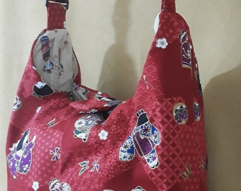 Asian Kimono Dolls Hobo Bag/red