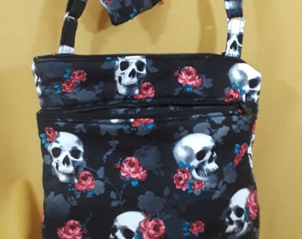 Skulls & Roses Black Crossbody Bag