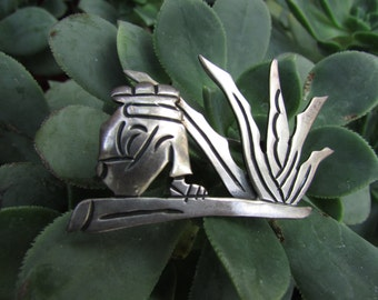 Maricela Sterling Silver Brooch Pin Tasco Mexico Gaucho Cacti 1940s