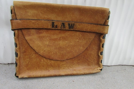 Vintage Leather Briefcase Engraved LAW Hippie Boho