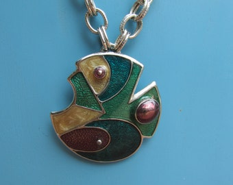 Vintage Modern Geometric Enamel Fish Necklace