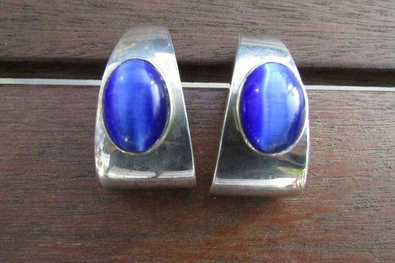 Vintage Mexican Sterling silver half hoop earrings