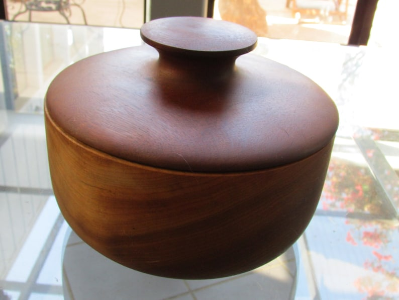 Vintage Hiltop Oregon Myrtlewood Covered Wood Bowl