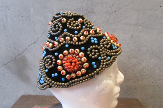 Lilly Dache Paris New York Beaded hat and Matching