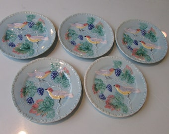 German Majolica Plates Turquoise Birds and Grapes Perfect
