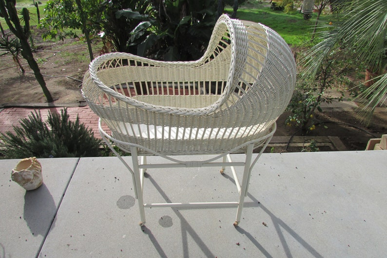 Vintage White Wicker Rattan Baby Bassinet 1940s On Stand With Wood Wheels