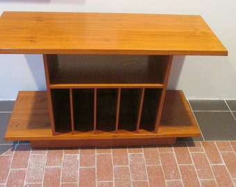Danish Modern Teak Record Cabinet with Storage for Albums