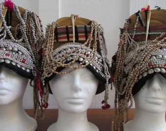 Hill Tribe Hats Northern Thailand Bamboo Beads Cotton metal Boho Hippie Funky
