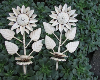 Vintage Wrought Iron Wall Candles Flowers Shabby Chic Retro Fun