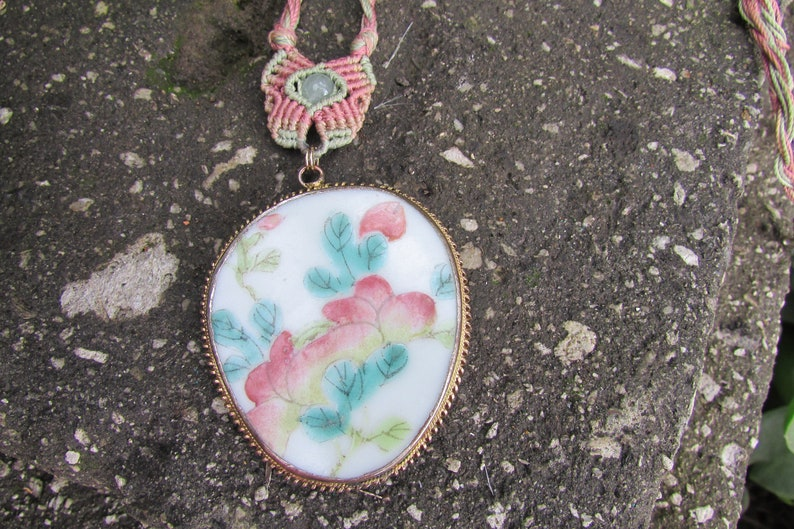 Vintage Asian Tile Necklace pendant on braided cord Asian Jewelry