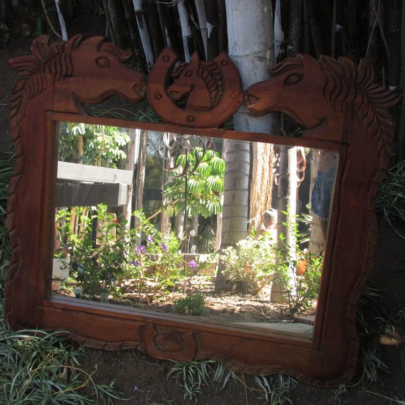 18cc9f402f Espejo grande de madera tallado caballo herradura vaquero