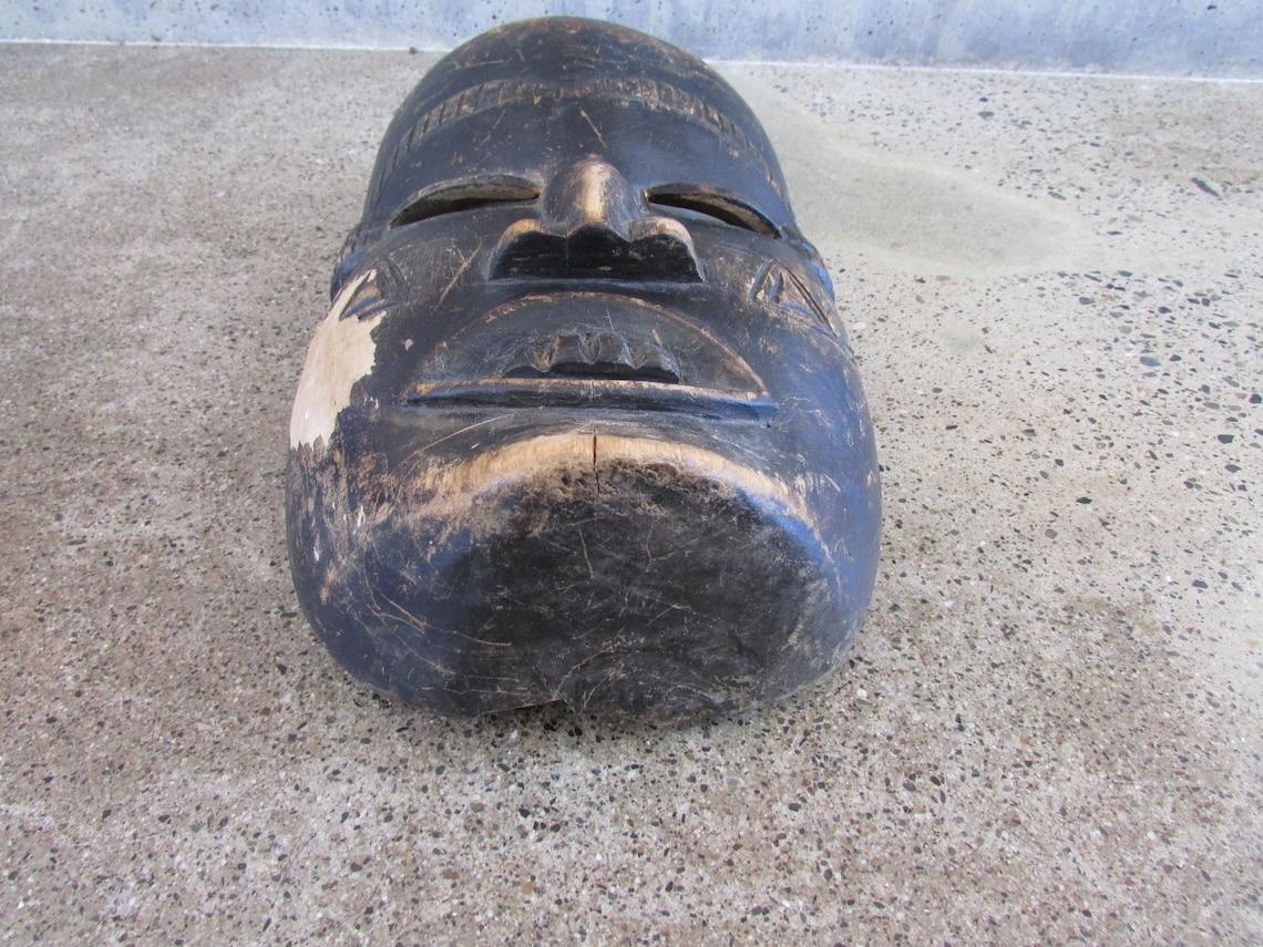 Vintage Carved wood Mask Boho Hippie tribal Art