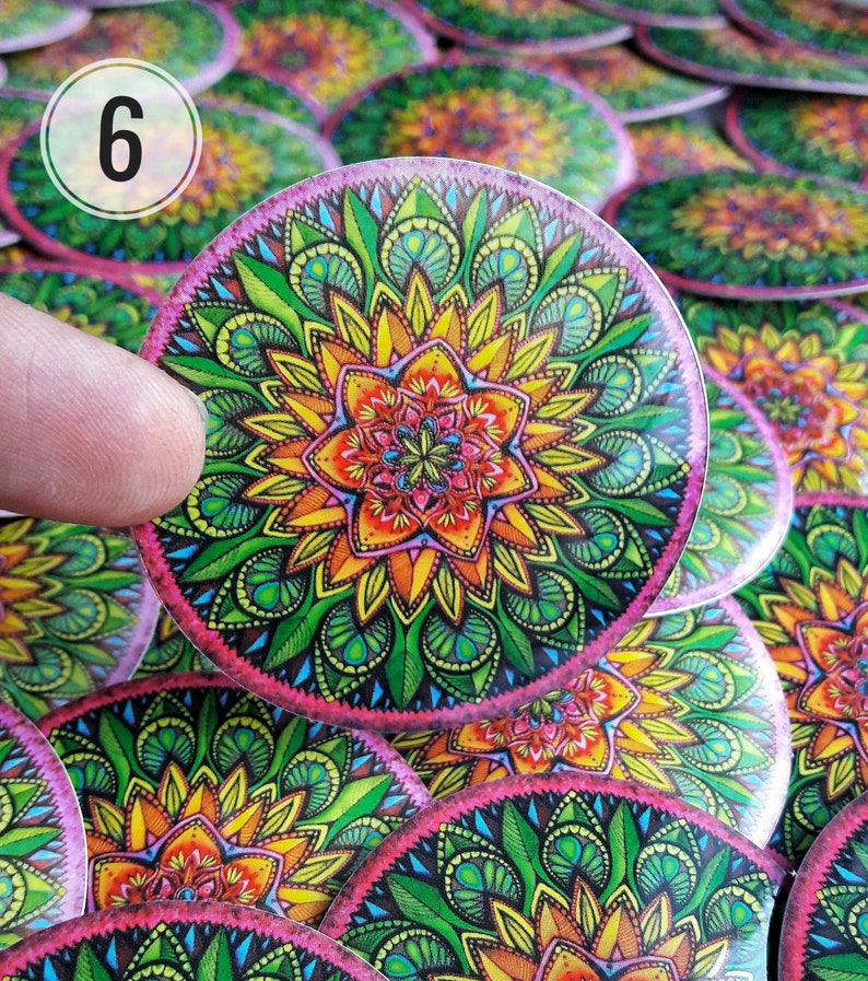 3-pack Mandala stickers for outdoor and indoor use pick your favourites Sacred geometry decals 5x5 cm Super detailed and colorful