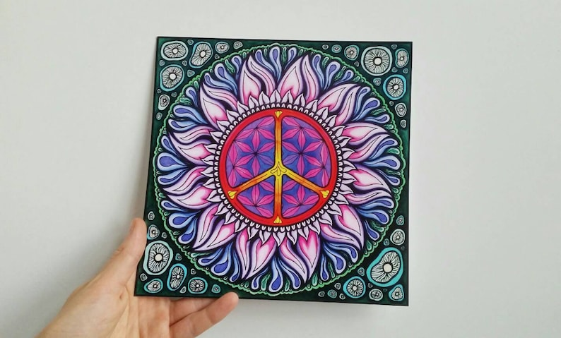 Peace sign poster, mandala poster, sacred geometry, colorful poster, trippy  art, flower of life poster