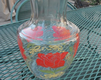 Vintage Red Rose and Green Leaves Anchor Hocking Carafe