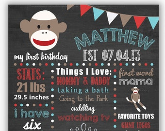 First Birthday Chalkboard Poster, First Birthday Milestone Chalkboard, Printable Chalkboard Poster, Sock Monkey Birthday
