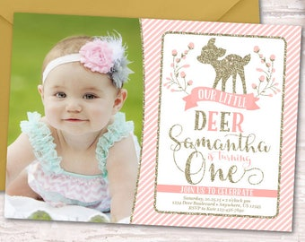 Deer Birthday Invitation, Deer Invitation, Little Deer Invitation, Woodland Birthday Invitation, Woodland Invitation, Deer 1st Birthday