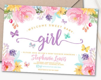 Baby shower invitation etsy butterfly baby shower invitation baby girl shower invite pastels peony flowers watercolor digital or printed filmwisefo