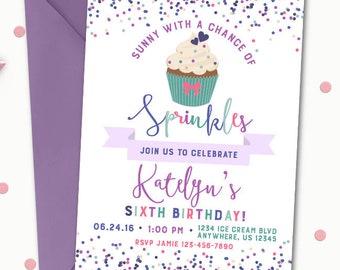 cupcake invitation etsy