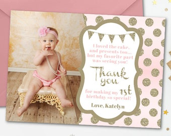 Blush Pink And Gold Thank You Card Birthday Glitter First CardGlam Photo