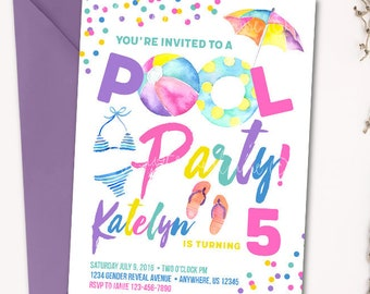Pool Party Invitation, Pool Party Birthday Invitation, Beach Party Invitation, Beach Party Birthday Invitation, Summer Invitation, Summer