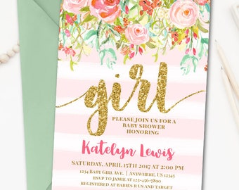 Floral Watercolor Baby Shower Invitation, Girl Baby Shower Invitation, Pink and Gold Baby Shower Invitation, Floral Baby Shower Invitation