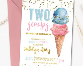 673cd25d61e Ice Cream Baby Shower Invitation for Twins