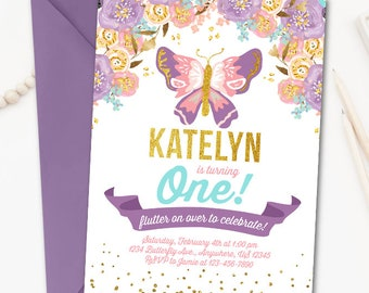 Butterfly Invitation Birthday Garden Party Watercolor