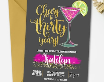 Black and Gold Birthday Invitation, Adult Birthday Invitation, 30th Birthday Invitation, Watercolor Birthday Invitation, Cheers to 30 years